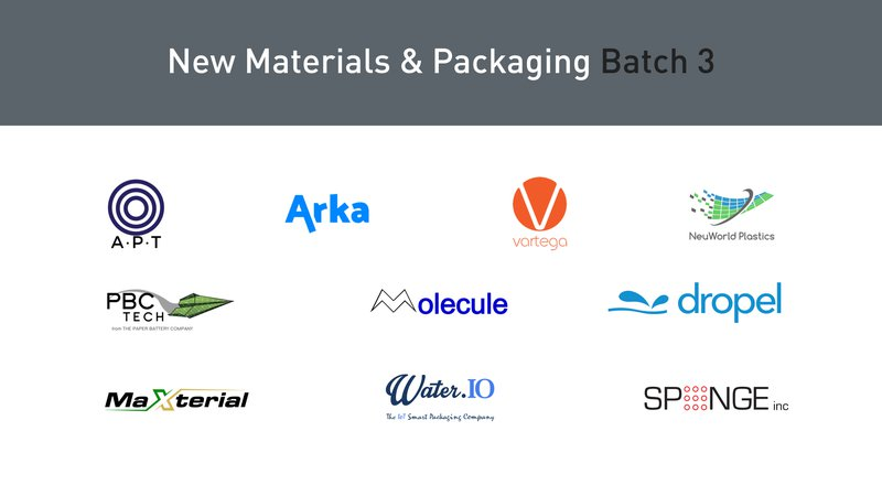 New Materials Packaging Batch 3 Startups