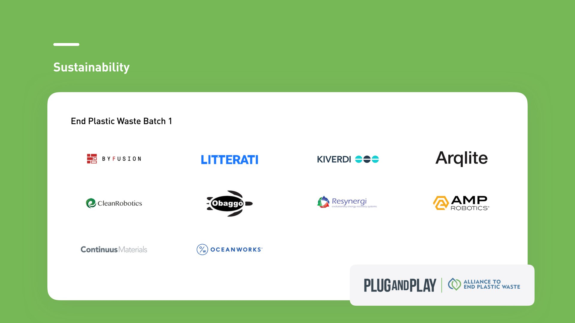 Plug and Play Sustainability Startups